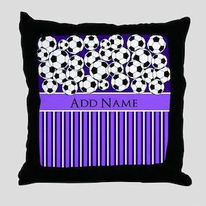 Soccer Balls purple stripes Throw Pillow