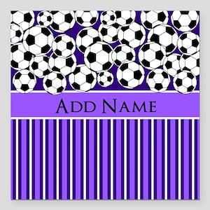 "Soccer Balls purple stri Square Car Magnet 3"" x 3"""