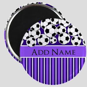 Soccer Balls purple stripes Magnet