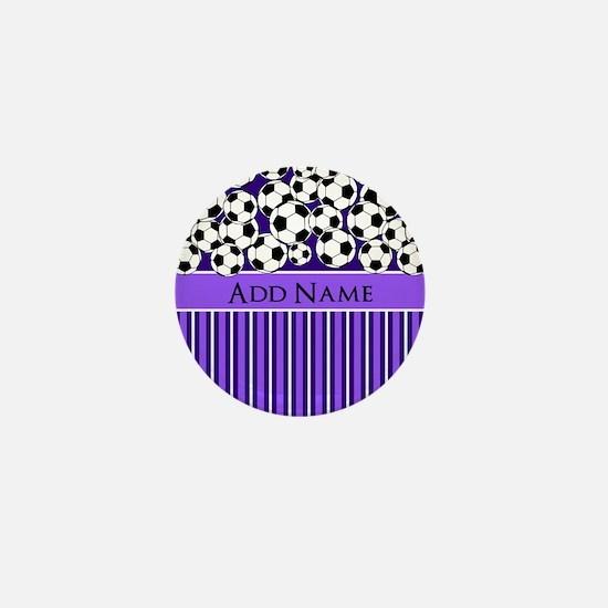 Soccer Balls purple stripes Mini Button