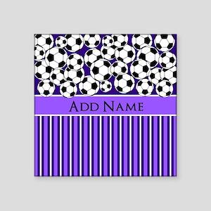 """Soccer Balls purple stripes Square Sticker 3"""" x 3"""""""