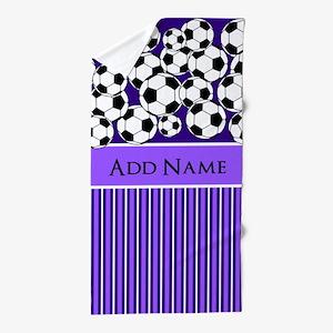 Soccer Balls purple white stripes Beach Towel