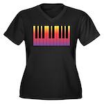 Fiery Piano Women's Plus Size V-Neck Dark T-Shirt