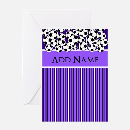Soccer Balls purple white stripes Greeting Cards