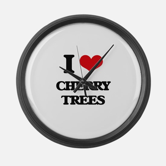 cherry trees Large Wall Clock