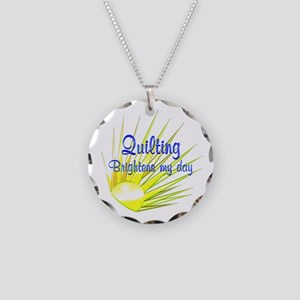 Quilting Brightens Necklace Circle Charm