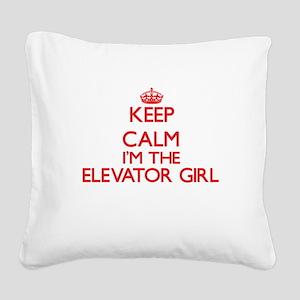 Keep calm I'm the Elevator Gi Square Canvas Pillow