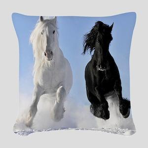 Beautiful Horses Woven Throw Pillow