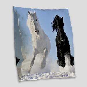 Beautiful Horses Burlap Throw Pillow