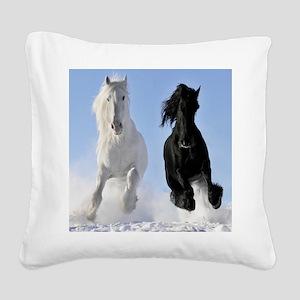 Beautiful Horses Square Canvas Pillow