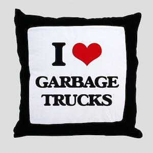 garbage trucks Throw Pillow