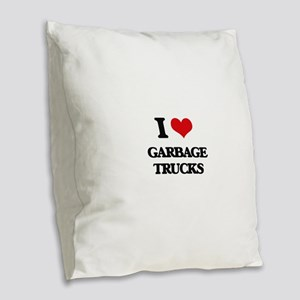 garbage trucks Burlap Throw Pillow