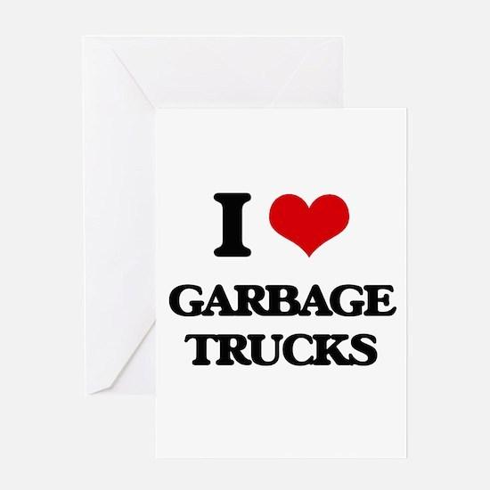 garbage trucks Greeting Cards