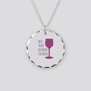 Husband For Wine Necklace Circle Charm