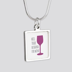 Husband For Wine Silver Square Necklace