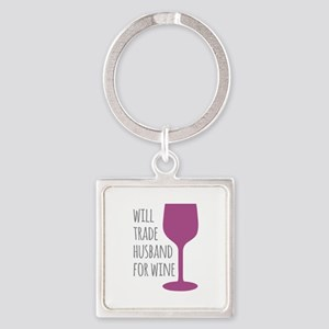 Husband For Wine Square Keychain