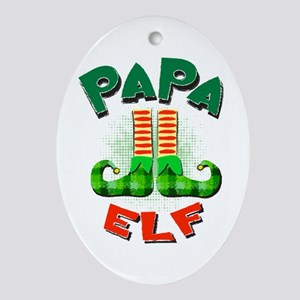 Papa Elf Ornament (Oval)