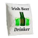 Irish Beer Drinker Burlap Throw Pillow