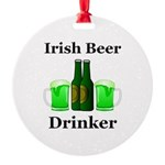 Irish Beer Drinker Round Ornament