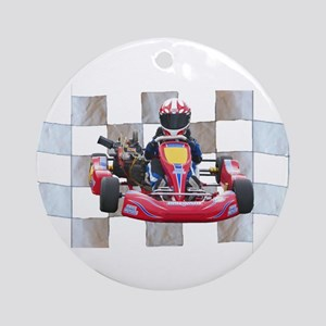 Kart on Checkered Flag Ornament (Round)