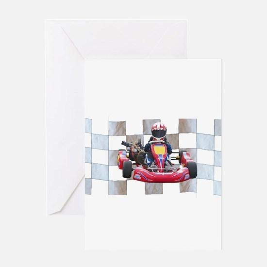 Kart on Checkered Flag Greeting Cards