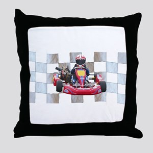 Kart on Checkered Flag Throw Pillow