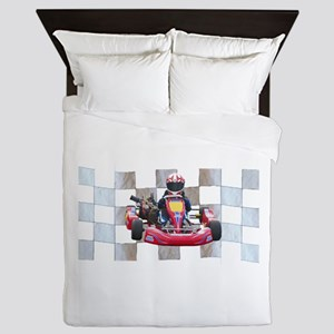 Kart on Checkered Flag Queen Duvet