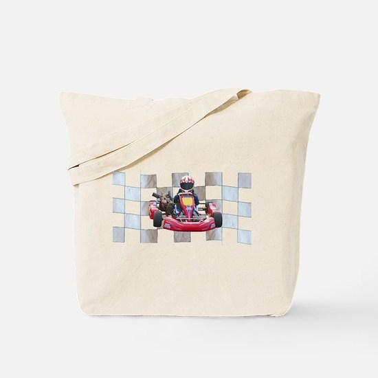Kart on Checkered Flag Tote Bag