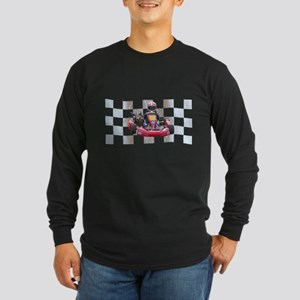 Kart on Checkered Flag Long Sleeve T-Shirt