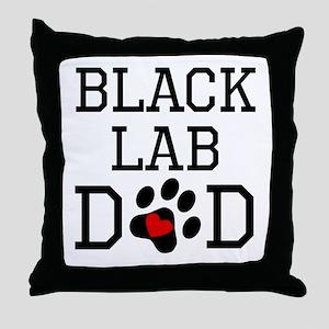 Black Lab Dad Throw Pillow
