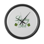 Lucky Girl Shamrocks Large Wall Clock