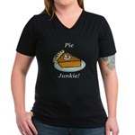 Pie Junkie Women's V-Neck Dark T-Shirt