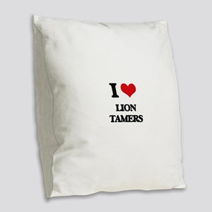lion tamers Burlap Throw Pillow