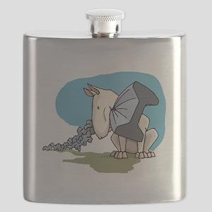 Bull Terrier Chewing Steel Flask