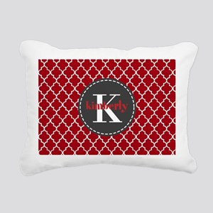Red and Charcoal Gray Qu Rectangular Canvas Pillow