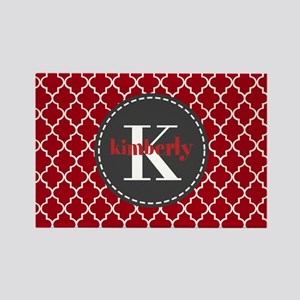 Red and Charcoal Gray Quatrefoil Rectangle Magnet