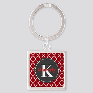 Red and Charcoal Gray Quatrefoil M Square Keychain