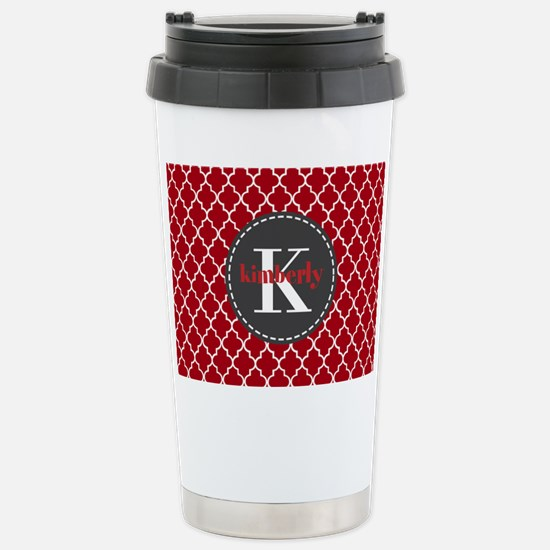 Red and Charcoal Gray Q Stainless Steel Travel Mug