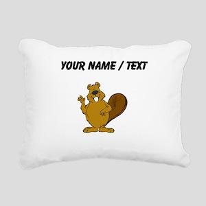 Custom Beaver Waving Rectangular Canvas Pillow