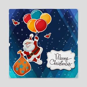Merry Christmas Flying Santa Claus Queen Duvet