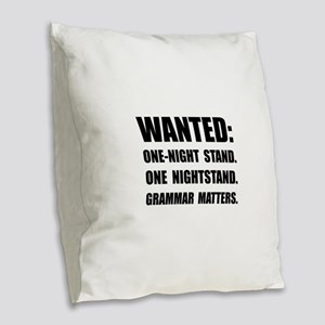 Nightstand Grammar Burlap Throw Pillow