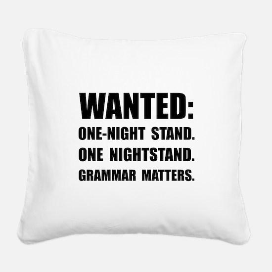Nightstand Grammar Square Canvas Pillow