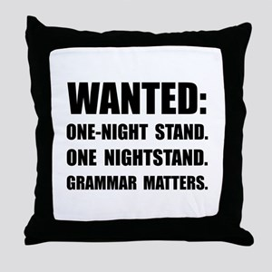 Nightstand Grammar Throw Pillow