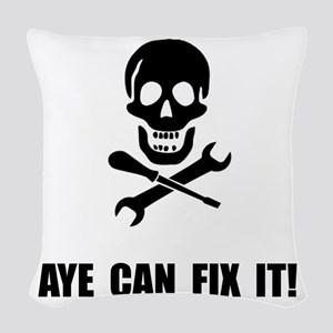 Pirate Fix It Skull Woven Throw Pillow