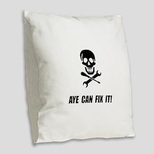 Pirate Fix It Skull Burlap Throw Pillow