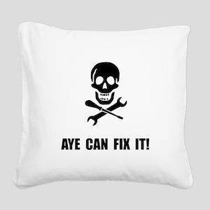 Pirate Fix It Skull Square Canvas Pillow