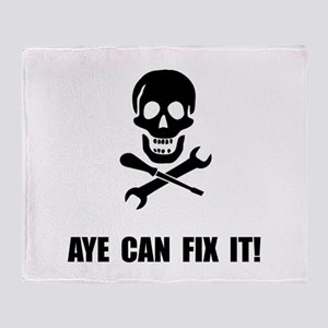 Pirate Fix It Skull Throw Blanket