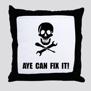 Pirate Fix It Skull Throw Pillow