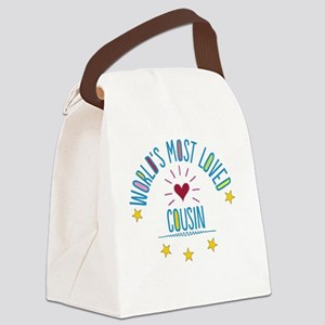 World's Most Loved Cousin Canvas Lunch Bag