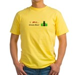 I Love Green Beer Yellow T-Shirt